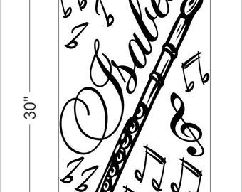 Personalized Name and FLUTE music notes Vinyl Wall Decals Art Stickers for Kids Boys and Girls