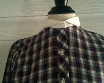 Vintage Plaid Blouse - 1970s Plaid Blouse with White Peter Pan Collar