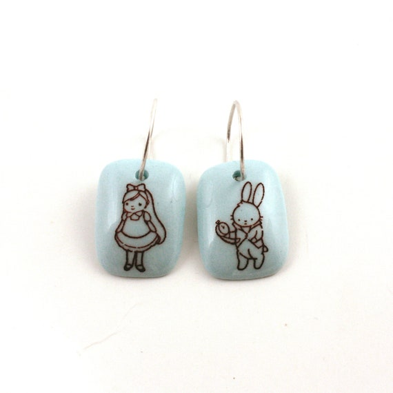 Alice In Wonderland Earrings Porcelain Blue Handmade on  925 Sterling Silver  Hoops