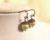 Green and Copper Acorn Earrings