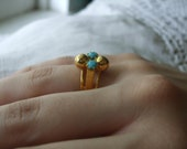 Cocktail Ring Adjustable Gold Pink Topaz Turquoise 1970s Spain Deadstock