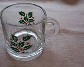 Holly Mug Glassware Christmas Mug 1950s 1960s