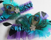 Peacock Wedding Garter Set, Purple & Turquoise Garter, Zebra Bridal Garters, Teal Blue and Purple Garter, Aqua Blue and Purple Garter