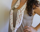 Upcycled Infinity Scarf: Floral with Faux Leather Band