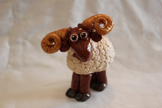 RESERVED for CLAIRE Ram Sheep Polymer Clay Sculpture