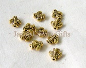 10 Pieces Antiqued Yellow Gold or Antiqued Silver Metal Bee Body or Vase Spacer Beads 7x7mm Antique