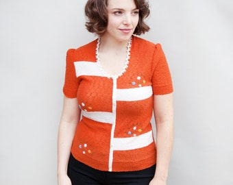VIntage 1950s Sweater - Bloc Party - Orange and White Cotton Knit Floral Sweater Shirt