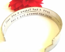 cuff, bracelet, personalized bracelets, i love you a bushel and a peck and a hug around the neck, mother daughter bracelet, quote bracelet