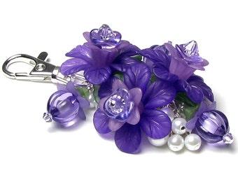 Purple Grape Floral Crystal Pearl Cluster Silver Handbag Charm