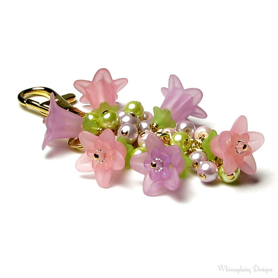 Pastel Pink Lilac Lily Floral Crystal Pearl Cluster Handbag Charm