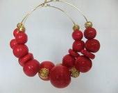 Red Beaded Hoop Earrings by SBDCdesigns
