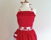 Retro apron with ruffles, white polka dots on red fabric. 1950s inspired, fully lined.