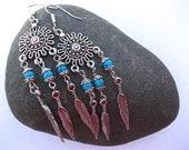 Bohemian Turquoise Feather Earrings
