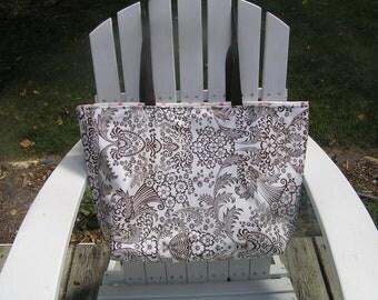 Large Brown Toile/Pink Polka Dot Oilcloth Waterproof Tote Bag/ Beach Bag/ Diaper Bag/ Pool Bag/ Boat Bag/ Teacher Gift/ Mother's Day Gift