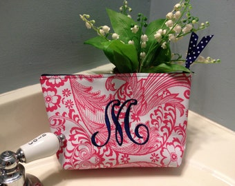 Small Pink Floral Toile Oilcloth Personalized Cosmetic Bag / Monogrammed Makeup Pouch with Blue Monogram and Blue Gingham Oilcloth Lining