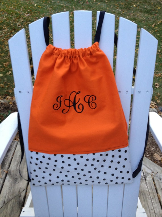 items similar to personalized and monogrammed orange and polka dot cinch sack