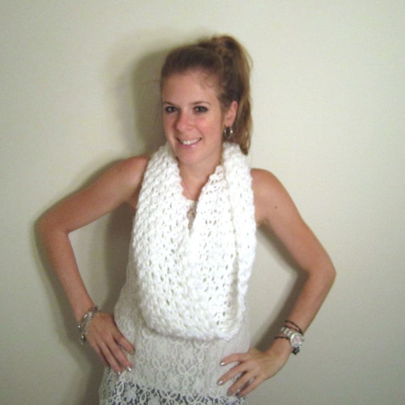 White Chunky Cowl Scarf Knit  - The Patuxent Cowl