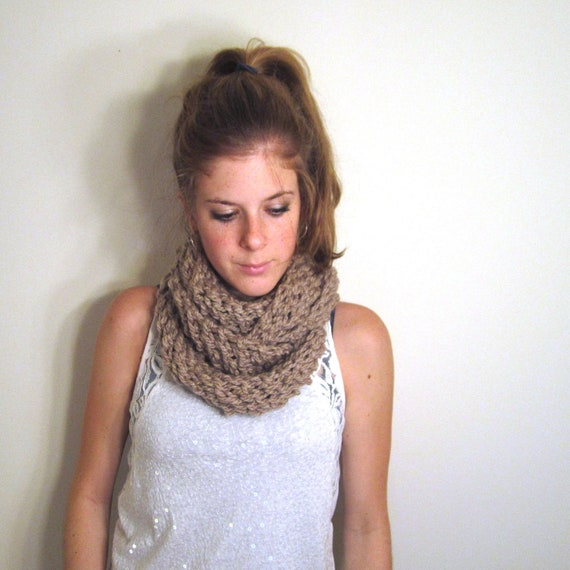 Taupe Chunky Cowl Scarf Knit  - The Patuxent Cowl