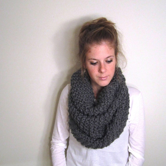 Gray Chunky Cowl Scarf Knit - Solomons Cowl