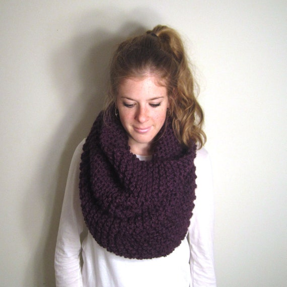 Chunky Cowl Scarf Knit Purple - Solomons Cowl