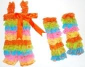 Rainbow Lace Petti Romper Set: Romper, Leggins, Hairbow
