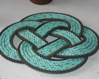 Mint Chocolate Chip Colored Rope Pot Holder Trivet Beautiful Nautical