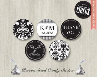 216 Custom Kiss Candy Stickers - Black and White Damask Set  - DIY Wedding