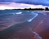 Purple, Blue, Beach, Wave, Nautical, Lavender, Ludington, Michigan,   Nature Photography