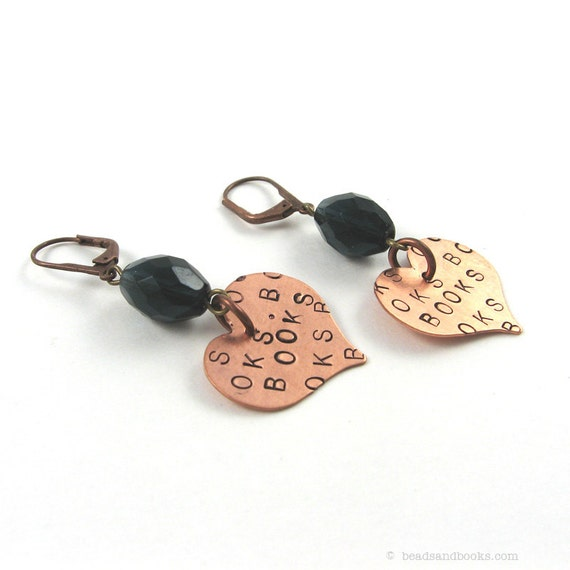 Heart Earrings: Love of Books (Librarian Jewelry, Writer Jewelry) Stamped Jewelry