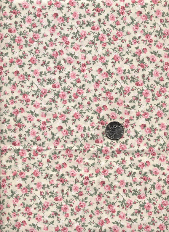 Cranston Tiny Print Cotton Quilt Fabric Pink Roses On Beige 44