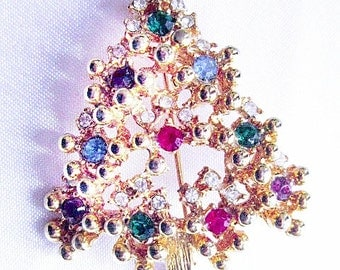 Vintage Christmas Tree Brooch With Color Rhinestones