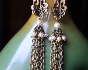 Antiqued Gold and Creme Pearls Modern 3D Tassel Earrings