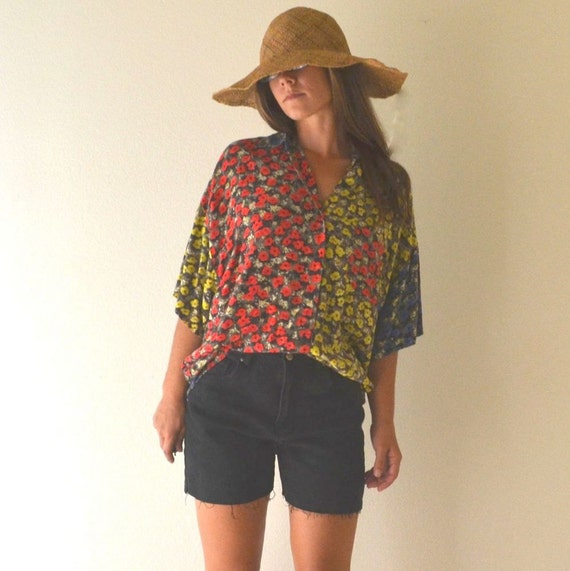 Patchwork Floral Print Blouse Express Early 90s Oversized Slouchy Fit Top Small Medium