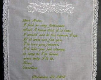 Mother of the Bride Handkerchief from Bride with Delicate Damask Design, Wedding date White with Chrochet Border