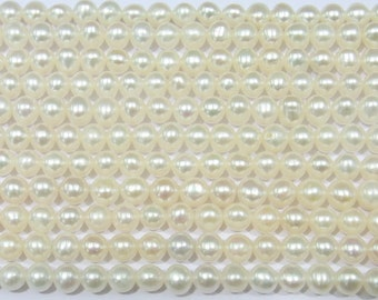"""Freshwater Pearl Beads Genuine Natural Pearl 4-5mm Offround White 15""""L 5671 Wholesale Pearls"""