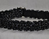 Melody - Black sparkling cat collar - safety breakaway soft unique handmade