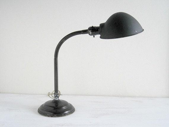 Vintage Gooseneck Desk Lamp - Rustic Industrial Decor