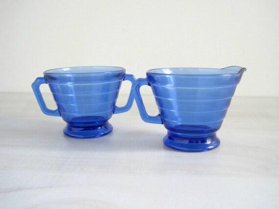 Vintage Cobalt Blue Depression Glass Creamer & Sugar - Moderntone