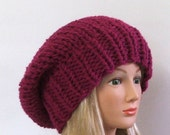 Chunky Knit Magenta Slouchy Beret Hat