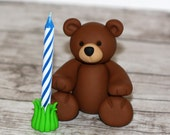 Custom Made Clay Bear Candle Holder - Zoo Animal Cupcake / Cake Topper