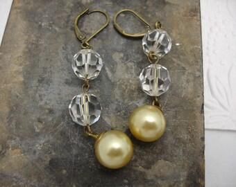 Crystal Golden Pearl Earrings Long Vintage Earrings
