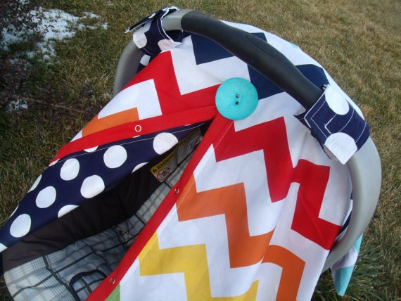 Chevron Dot Carseat Canopy Perfect for that Newborn Baby REVERSIBLE Pick Flower or Button