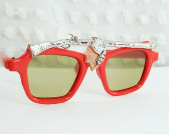 50s Kids Sunglasses 1950s Cowboy Sunglass Red Horn Rim Frame Childrens Metal Rifle Browline Western Theme Small Size Non Rx Unisex