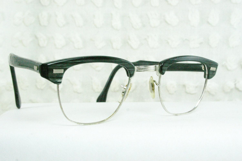 Mens Wire Frame Glasses : 60s Mens Glasses 1960s Browline Eyeglasses G man by ...