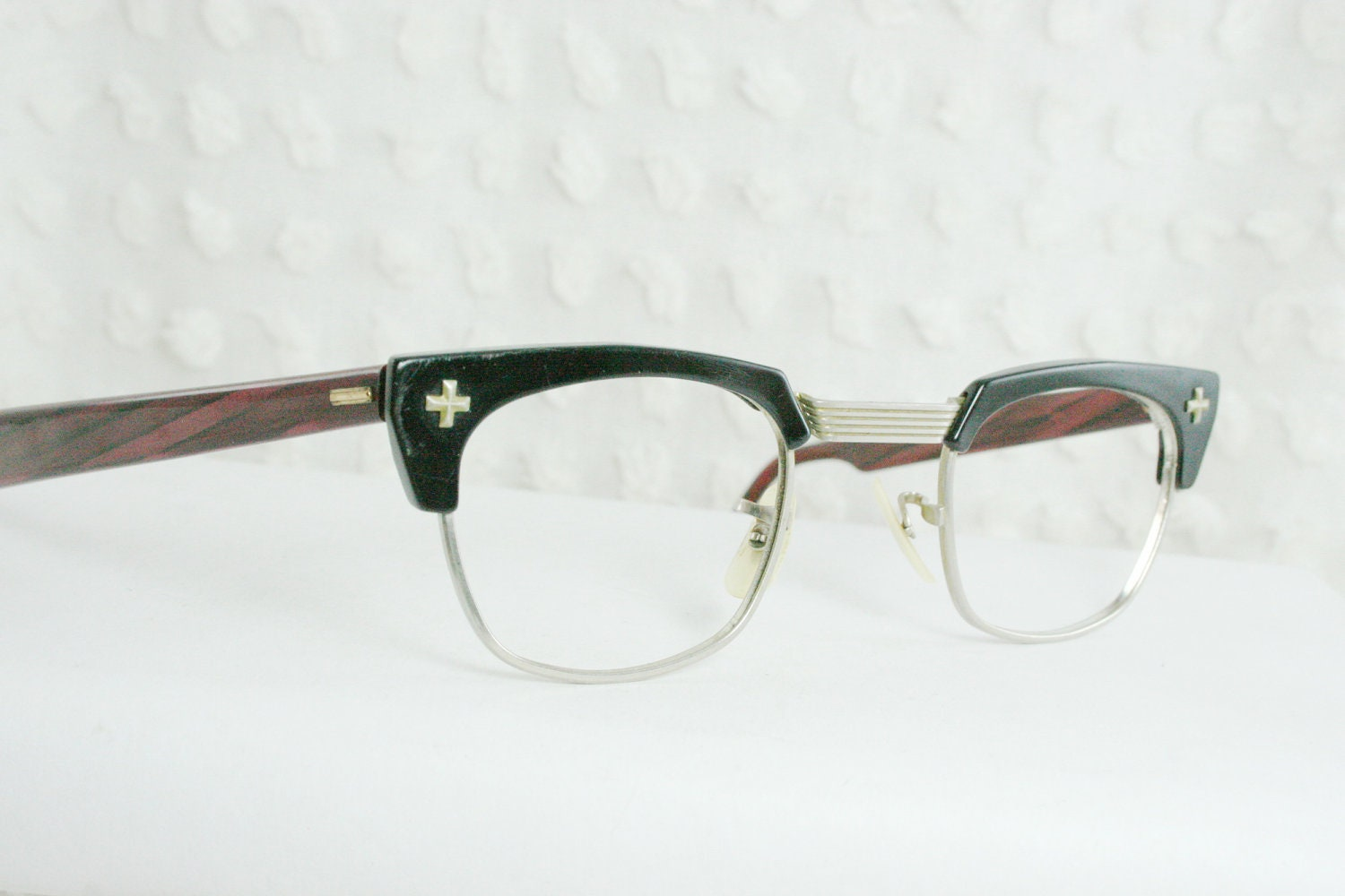 50s Mens Glasses Vintage 1950s Eyeglasses Black by DIAeyewear