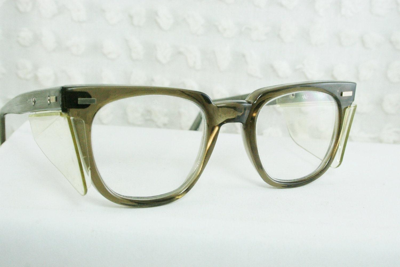 60s mens glasses 1960s safety eyeglasses gray by diaeyewear