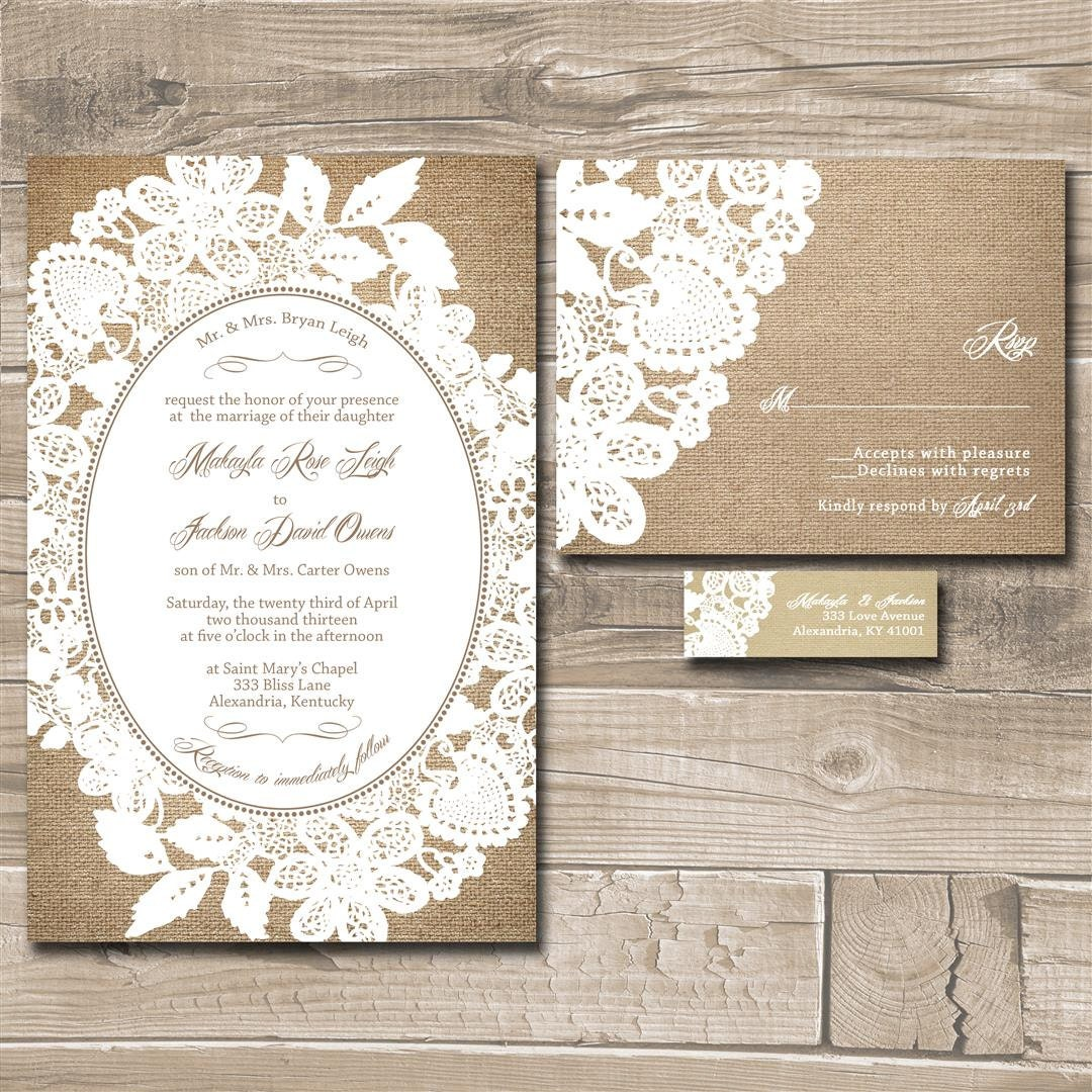 Lace Wedding Invitation Suite Mint Green By InvitingMoments