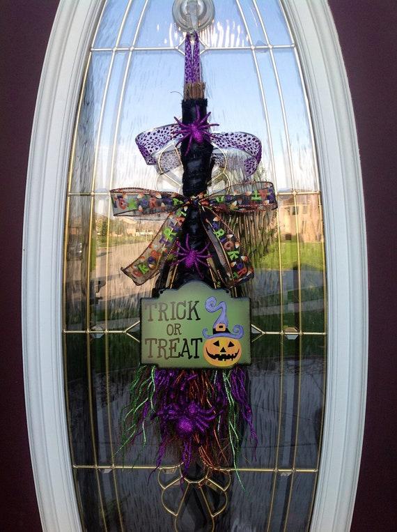 """Halloween Fall Door Broom Vertical Swag Decor...""""Trick or Treat"""""""