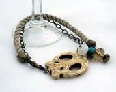 Skull Cord Bracelet in Taupe and Turquoise