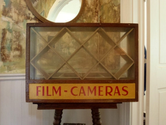 Antique Store Display Fixture Film Cameras Wood and Glass Display Case